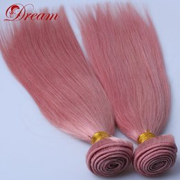 $enCountryForm.capitalKeyWord NZ - Dream 8A Unprocessed Virgin Human Hair Pink Color Silky Straight Wefts Weaves Bundles Unprocessed Human Hair 8-30""