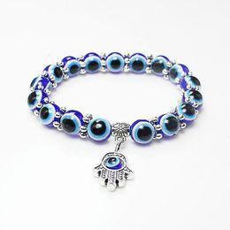 Hamsa Hand silver bracelets online shopping - Lucky Fatima Hamsa Hand Blue Evil Eye Charms Bracelets Bangles Beads Turkish Pulseras For Women New Jewelry KKA2009