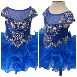 Cupcake Tutu NZ - 2019 Sheer Royal Blue Cap Sleeveless Girls Pageant Cupcake Dresses Infant Special Occasion Crystal Tutu Skirt Short Birthday Party Gowns