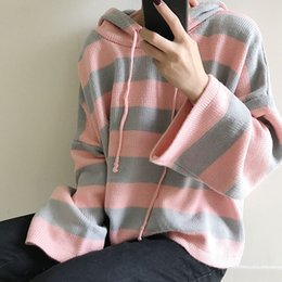 $enCountryForm.capitalKeyWord NZ - Women'S Kawaii Knitting Loose Short Design Cute Jumper Female Multicolour Stripe Hooded Korean Cardigan Sweater For Women