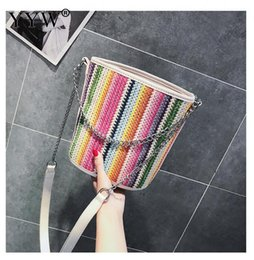 Discount round hand bag - 2018 Fashion New Handbag High Quality Straw Weave Bag Women Bag Round Tote Hand Colorful Striped Shoulder Travel Yellow