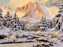 $enCountryForm.capitalKeyWord NZ - Modern Classical Landscape Oil Painting Snow scene Reproduction Printed on Canvas Wall Art picture for Living Room Home Decor gift HTFJ02