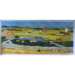 China Handmade Art Gift Vincent Van Gogh Reproduction Harvest At La Crau with Montmajour In The Background Modern paintings for living room cheap reproduction painting handmade suppliers