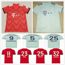 18bf0c14219 2018 2019 Bayern Soccer Jersey JAMES RIBERY MARTINEZ LEWANDOWSKI ROBBEN  MULLER BOATENG 18 19 Custom Men Women Kids Youth Munich Football