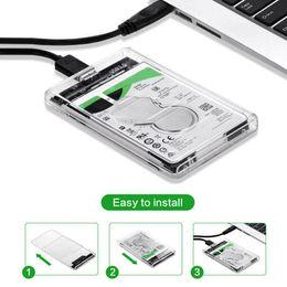 Vente en gros Disque dur USB 3.0 SATA 2.5 pouces Disque dur SSD externe Boîtier Transparent