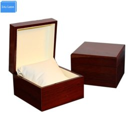cheap watch boxes UK - Wooden Glossy Lacquer Cheap Wood Watch Box Inner Leather with pillow Size Could Custom Customer LOGO Drop Shipping