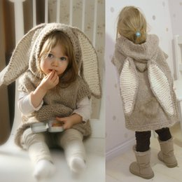 Rabbit hooded sweateR online shopping - girls Rabbit Hooded Sweater dress INS Baby Rabbit long ears Wool knitting cartoon dress winter fashion kids Clothing Outwear FFA961