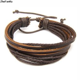 Wholesale 2017 Hot Sale Mens Bracelet Woven Leather Bracelet Hand Made Leather Rope Bracelets Bangles With Braided Rope For Women Men