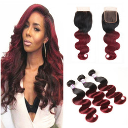 burgundy ombre hair bundles closure NZ - Dark Burgundy Brazilian Body Wave Hair With Closure 3 Bundles With Closure Two Tone 1B 99J Ombre Brazilian Virgin Hair Weave With Closure