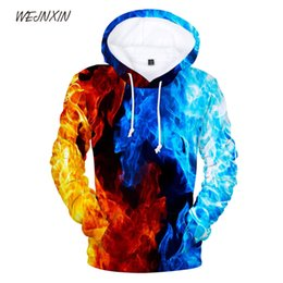 China WEJNXIN 3D Flame Pullover Hoodie with Hat Pocket Cotton Sweatshirt Men Women Graffiti Artistic Sense Sweartshirt Plus Size cheap graffiti hats suppliers