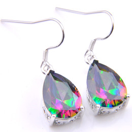 Chinese  LuckyShine 3 Pairs   Lot Thanksgiving Gift Water Drop Fire Rainbow Mystic Topaz Gemstone 925 Sterling Silver Wedding Earrings Free Shipping manufacturers
