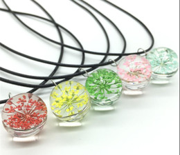 $enCountryForm.capitalKeyWord Australia - Creative plant dried flower necklace glass ball clavicle chain cherry ornaments girls birthday gift girlfriends sweet pendant