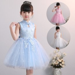 chinese style evening gowns NZ - Kids Girl Dress Fashion Outfits Chinese Cheongsam Formal Tulle Dress Sleeveless Lace Evening Gown Party Wedding Princess Dresses KA825