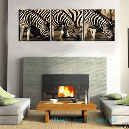 Zebra Print Art Australia - Zebra Drinking 3 Pieces Home Decor HD Printed Modern Art Painting on Canvas (Unframed Framed)
