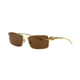 China Carving Snake Sunglasses Top Quality Brand Designers Half Rim Rectangle Metal Frames Sunglasses Unisex Made in France Vintage Gafas suppliers