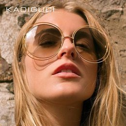 Discount blue mirrored designer sunglasses - KADEGUCI Newest Fashion Round Wire-Frame Sunglasses Women Vintage Gradient Fashion Sun Glasses Women Brand Designer Glas