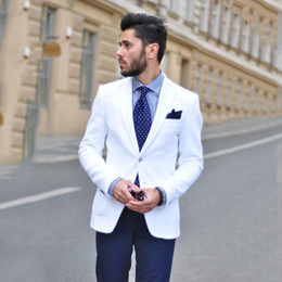 casual groom tuxedo Australia - Custom Made White Men Wedding Suits Navy Blue Pants Slim Fit Groom Tuxedos Casual Prom Wear 2 Pieces Man Blazers Jacket Costume Homme