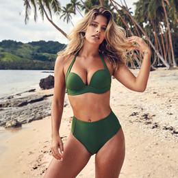 Discount plus size swimwear Sexy Bikini 2018 Girls High Waist Bikini Push Up Swimsuit Women Solid Plus Size Swimwear Ladies Bikini Set Red Bathing Suit SO0378