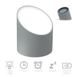 Прикроватная лампа, Ночной свет будильник, двойной сигнализации, Затемняемый настольная лампа, спальня часы для малыша на Распродаже