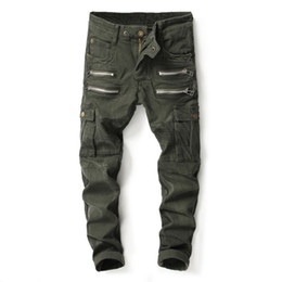 74068933 New Fashion High Street Punk Jeans Men Big Pocket Cargo Pants Army Green  Trousers Multi Zippers Brand Biker Jeans Homme