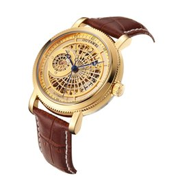 Chinese  Winner Brand Fashion Gold Watch Stylish leather Men Male Clock Classic automatic Mechanical Self Wind Wrist Dress Skeleton Watch Gift a314 manufacturers