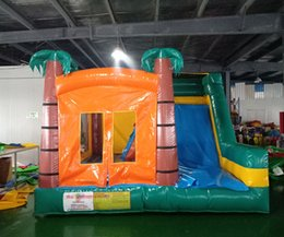 Jumping trampolines online shopping - inflatable bouncer castle trampoline jumping house with slide for kids
