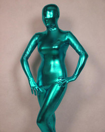 purple red full body suit UK - Cosplay Sea Blue Full Body Spandex Latex Rubber Zentai Suit Catsuit Fancy Dress Custom Size
