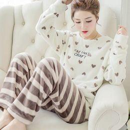 ae693d0162 Coral Velvet Winter Women Pajama Sets Female Flannel Round Neck Cute  Cartoon Home Clothing Winter Warm Suit Pyjama D18110502