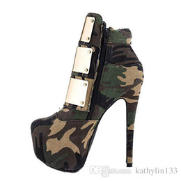 army green thigh high boots 2018 - 2018 New Fashion Thigh-high Customized Army Green camouflage Women Anckle Boots Leather Metal Super high heels Boots Win