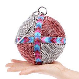 Discount blue beaded evening purses - 2018 Women's Beaded Diamond Evening Bag Bridal Wedding Round Ball Wrist Bag Clutch Purse Lady Banquet Party Handbag