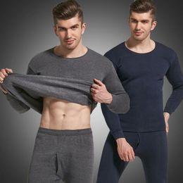 fleece for winter 2019 - Men's Thermal Underwear Sets Winter Warm Thermo Underwear For Men Thick Thermal Long Johns Male Cotton Fleece Cloth