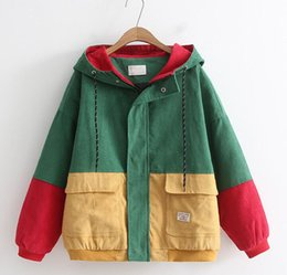 men s corduroy jacket Canada - Hip Hop Hoodie Loose Jacket Men Winter Corduroy Jacket Harajuku Red Patchwork Autumn Hooded Bomber Jacket Coat Reggae Jamaica