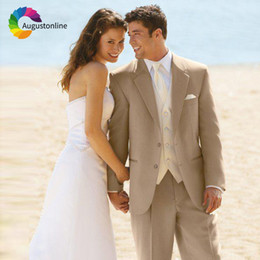 $enCountryForm.capitalKeyWord NZ - Augustonline Beige Beach Wedding Men Suits Groom Wear Tuxedos 2 Pieces (Jacket+Pants) Bridegroom Suits Best Man Blazer Prom