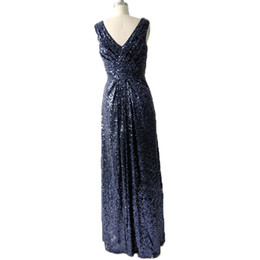 $enCountryForm.capitalKeyWord UK - Real Dark Navy Sequin Bridesmaid Dresses Long 2018 V Neck Ruched Sleeveless Cheap Prom Party Dresses Evening Gowns Women Formal Dress