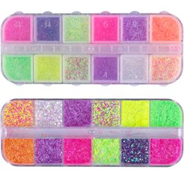 hexagon glitters UK - 1 Case Cheese Sugar Nail Powder Dust Glitter Holographic Pigment Mixed Hexagon Sequins Paillette Decoration Tips Manicure JISN