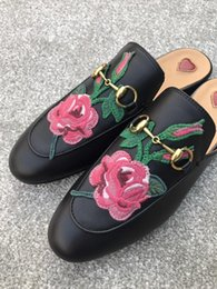 Leather Details NZ - 2019 hot sale Quality Women Princetown Stamp Leather Print Slipper Shoes,Leather Sole,Horsebit detail,Size 35-40,Free Shipping