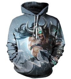 China 2018 New Fashion men women Cool sweatshirt Hoodies Men 3D print the warrior Tryndamere Loose Streetwear Long sleeve clothing supplier warriors clothes suppliers