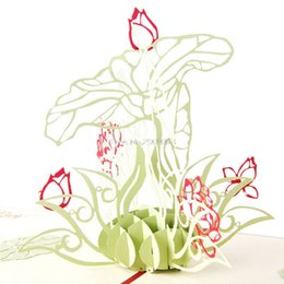 Discount origami flowers wholesale origami flowers 2018 on sale at 3d pop up origami paper laser cut greeting cards handmade vintage lotus flower birthday postcards diy thank you cards gift h06 origami flowers on sale mightylinksfo
