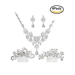 hair decorations for brides 2019 - PIXNOR Bride Wedding Jewelry Set Crystal Rhinestone Faux Pearl Necklace Earrings with Hair Comb Sets for Prom Party Deco