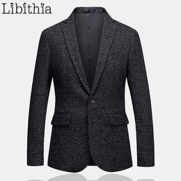 Smart Clothing NZ - Mens One Button Blazer Classic Wedding Smart Casual Slim Fit Jacket High Quality Big Size 5XL 6XL Dark Grey Clothes Male T207
