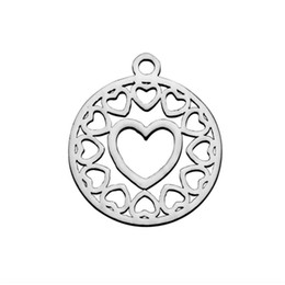 $enCountryForm.capitalKeyWord UK - Stainless Steel Polished Charms Hollow Heart Charms Pendant DIY Making Necklace Bracelets Jewelry Finding 20Piece Lot