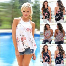 Wholesale designer plus size clothing for women online – Floral Print Designer Sleeveless T shirt for Women Tops Ladies Shirts Tees Halter Casual Summer T shirts Female Plus Size woman clothing DHL
