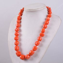 "indian coral beads Australia - NEW Natural 12-15mm Orange red coral rondelle beads necklace 18-30"" A++++"