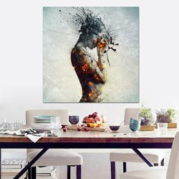Body painting nudes online shopping - RELIABLI ART Modern colorful nude art painting prints on canvas sexy woman body oil painting for living room decoration
