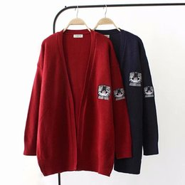 Chinese  Oversized Plus Size Knitted Wool Women Cardigan Jacket 2018 Embroidered Autumn Ladies Sweater Female Knitwear Coat manufacturers