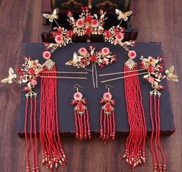 $enCountryForm.capitalKeyWord NZ - New bride headwear, costume, gold, red, fringes, Chinese antique set, hair show, dragon, Phoenix and gown accessories.