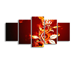 $enCountryForm.capitalKeyWord Australia - 5 pieces high-definition print fire flowers canvas oil painting poster and wall art living room picture PF5-006
