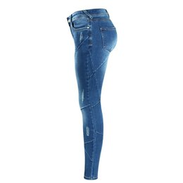 women s skinny jeans Australia - Women`s Crossing Line Patchwork Plus Size Brand New Mid Low Waist Stretch Skinny Pants Jeans for Women Denim Polyester Jean