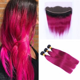 1b Pink Human Hair Australia - Black Roots Hot Pink Ombre Hair Weave Bundles with Frontal Lace Closure 1B Pink 2 Tone Ombre Straight Human Hair Weaves with Frontal