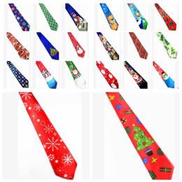 Discount christmas tie designs - christmas tie stripe christmas photos neck tie Santa Claus snowman print Party Xmas Ties 26 design KKA5875